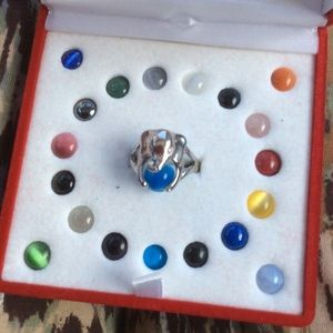 Sterling Silver Elephant Ring Multi Rainbow Stones
